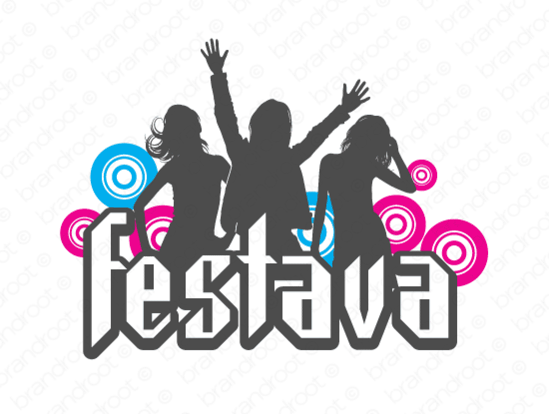 Festava logo design included with business name and domain name, Festava.com.
