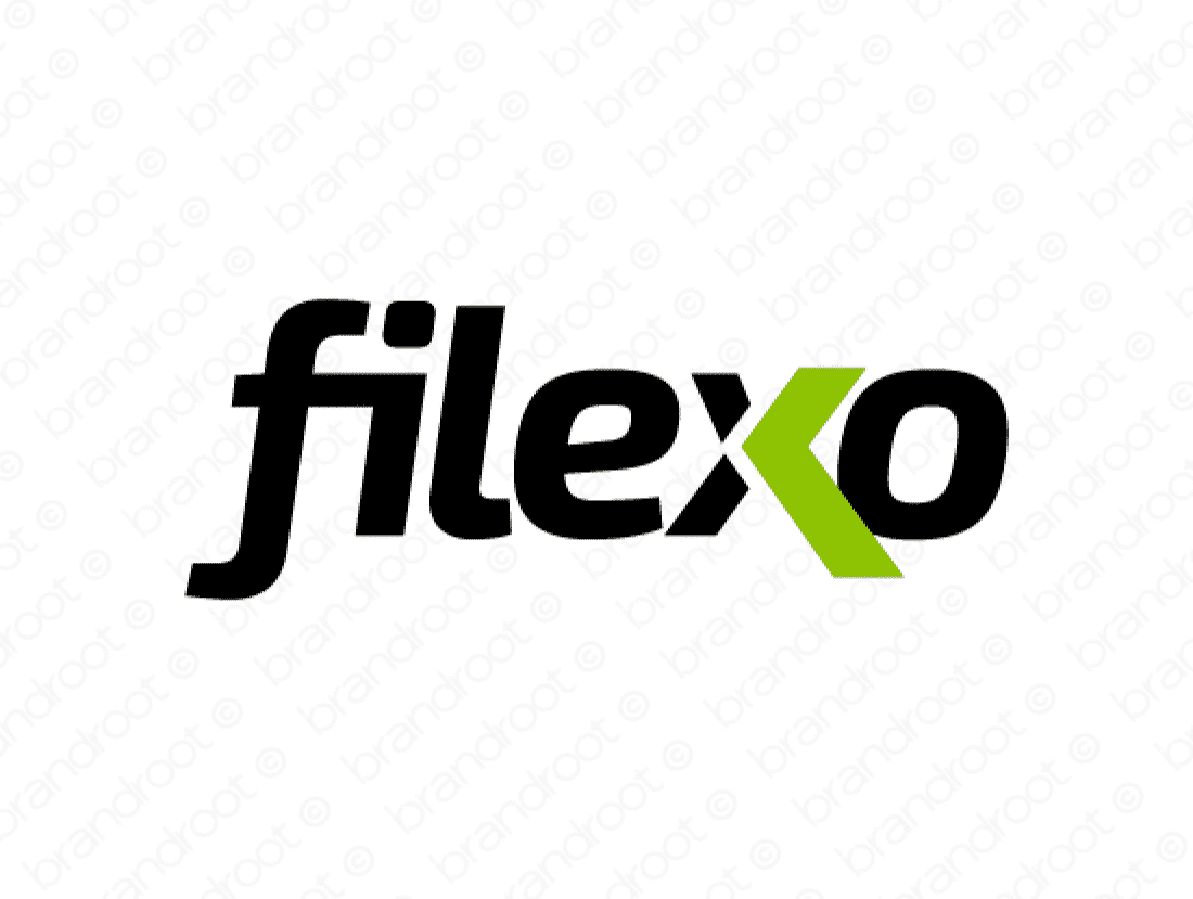 Filexo logo design included with business name and domain name, Filexo.com.