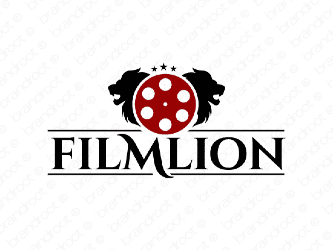 Filmlion logo design included with business name and domain name, Filmlion.com.