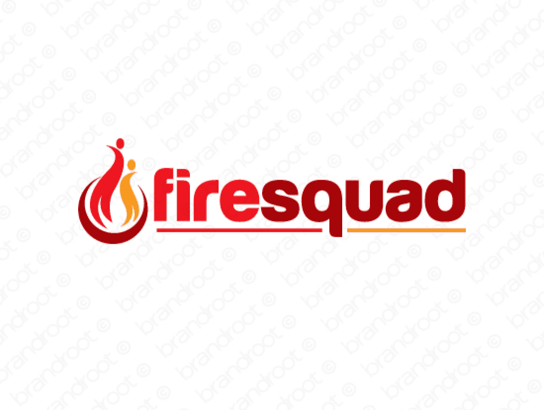 Firesquad logo design included with business name and domain name, Firesquad.com.