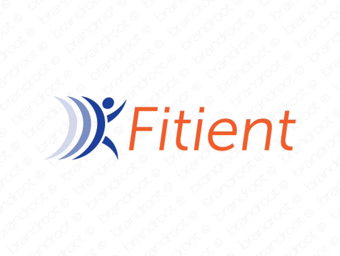 Fitient logo design included with business name and domain name, Fitient.com.