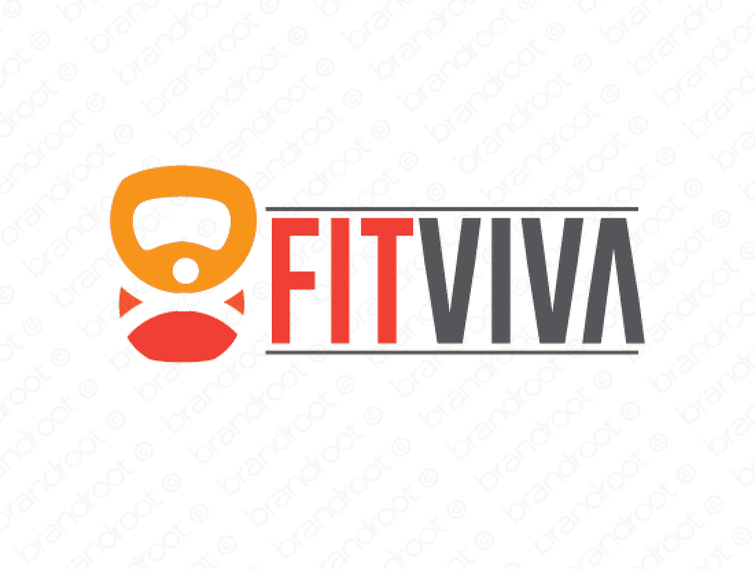 Fitviva logo design included with business name and domain name, Fitviva.com.