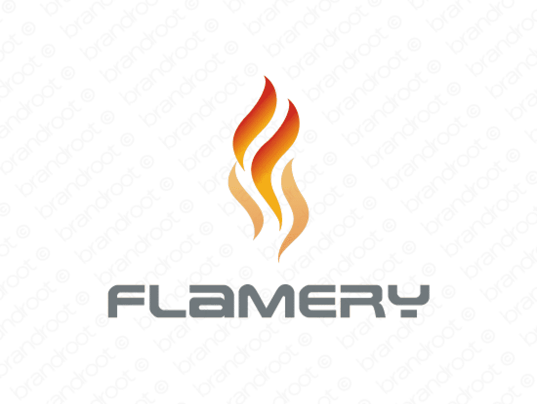 Flamery logo design included with business name and domain name, Flamery.com.