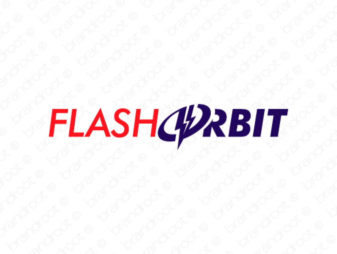 Flashorbit logo design included with business name and domain name, Flashorbit.com.