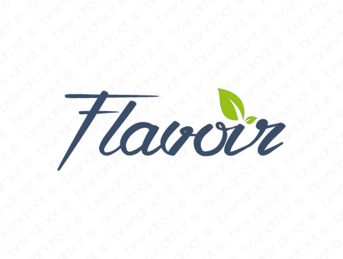 Flavoir logo design included with business name and domain name, Flavoir.com.