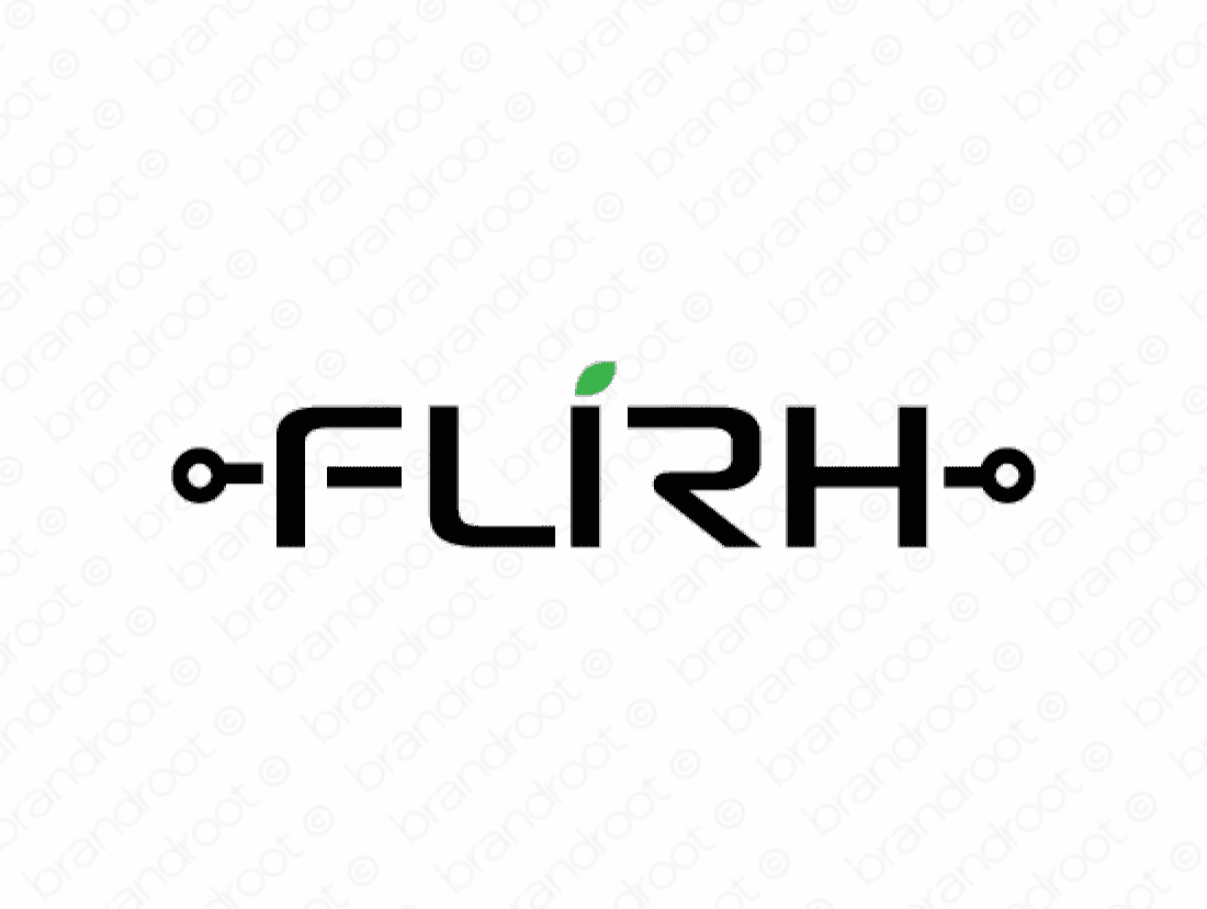 Flirh logo design included with business name and domain name, Flirh.com.