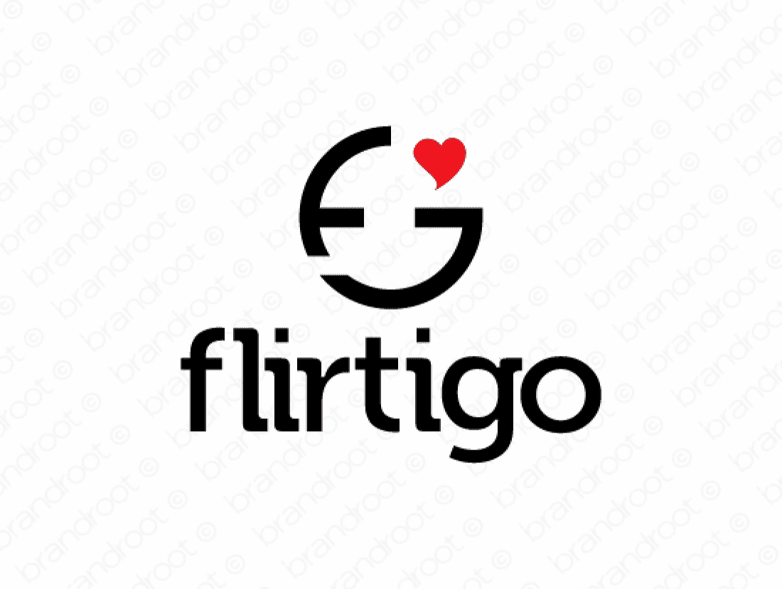 Flirtigo logo design included with business name and domain name, Flirtigo.com.