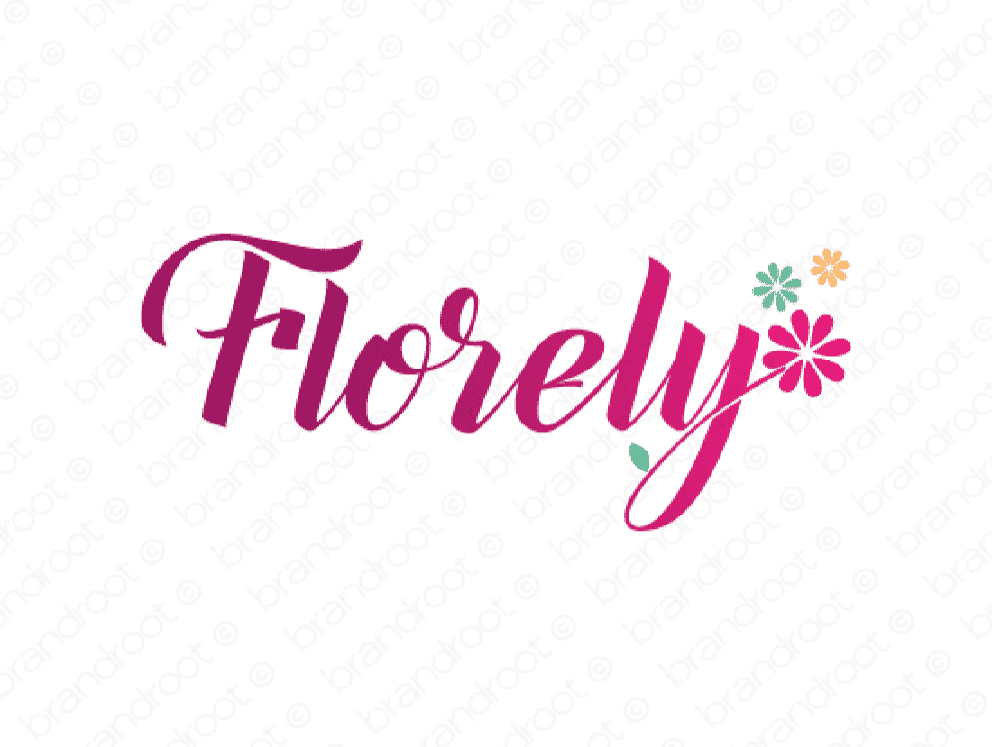 Florely logo design included with business name and domain name, Florely.com.