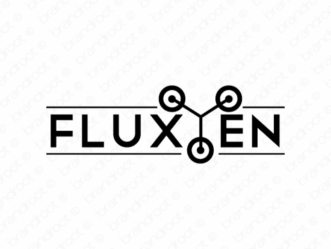 Fluxien logo design included with business name and domain name, Fluxien.com.