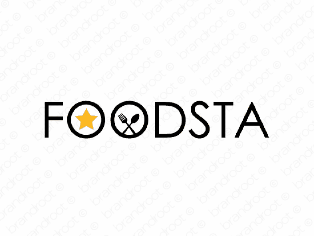 Foodsta logo design included with business name and domain name, Foodsta.com.