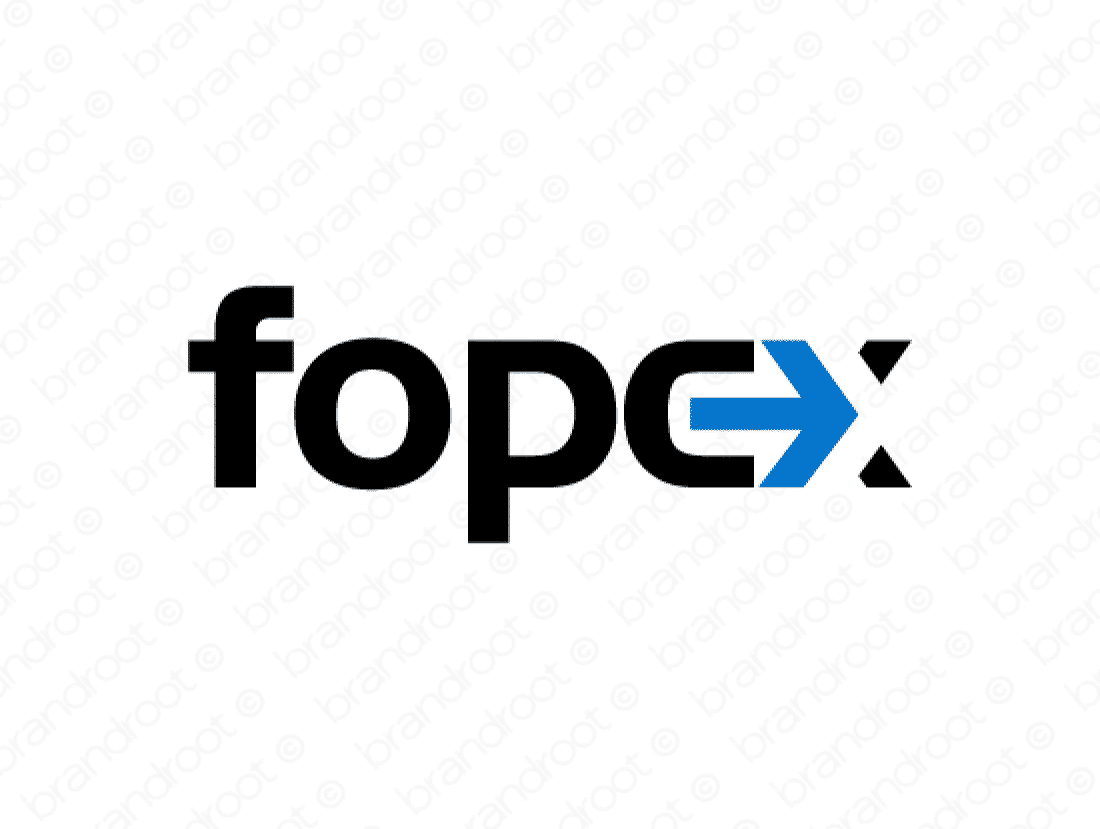 Fopex logo design included with business name and domain name, Fopex.com.
