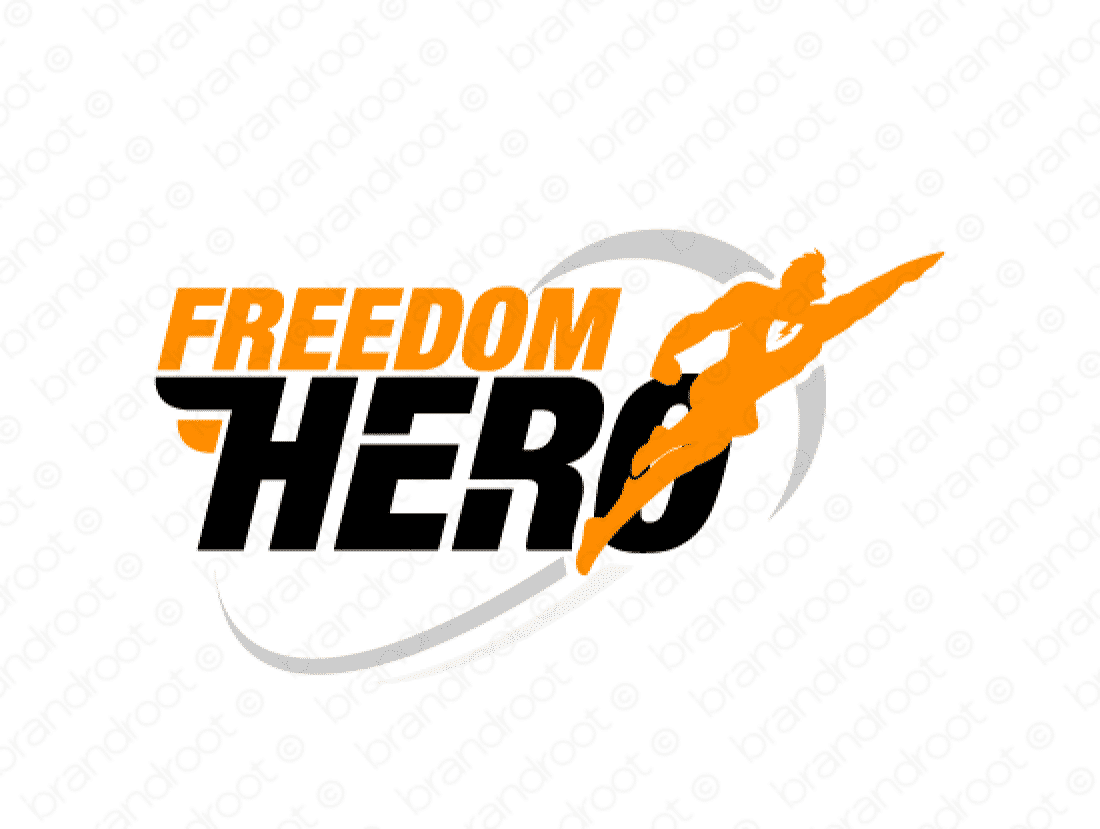 Freedomhero logo design included with business name and domain name, Freedomhero.com.