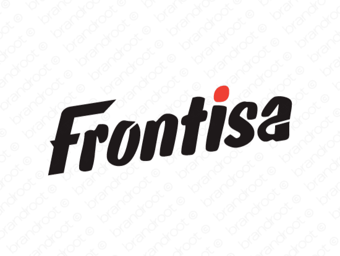 Frontisa logo design included with business name and domain name, Frontisa.com.