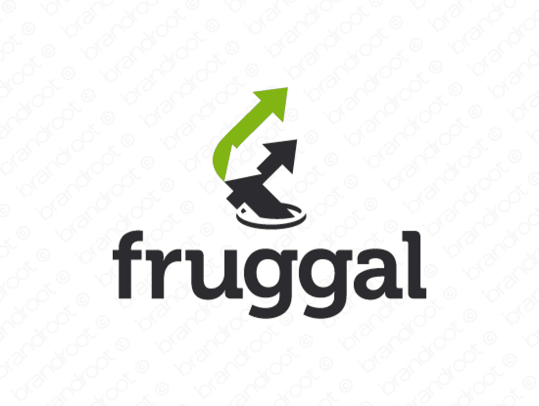 Fruggal logo design included with business name and domain name, Fruggal.com.
