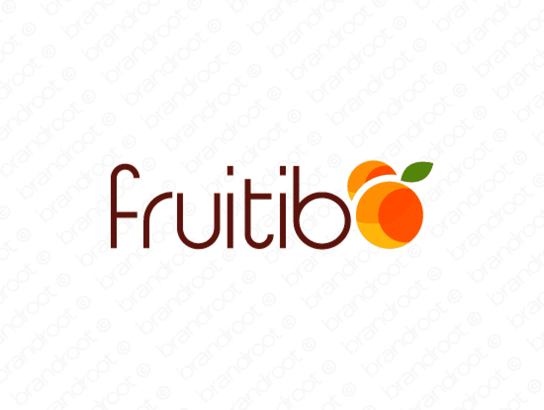 Fruitibo logo design included with business name and domain name, Fruitibo.com.