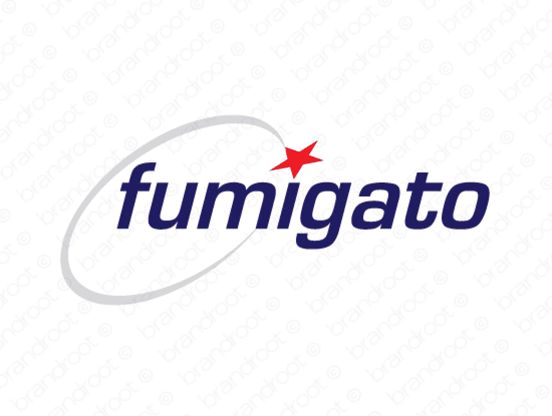 Fumigato logo design included with business name and domain name, Fumigato.com.