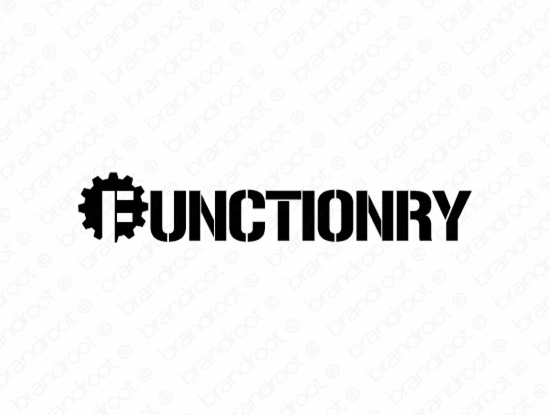Functionry logo design included with business name and domain name, Functionry.com.