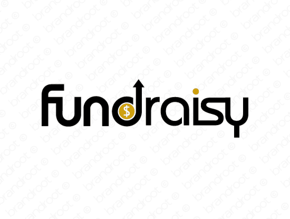 Fundraisy logo design included with business name and domain name, Fundraisy.com.