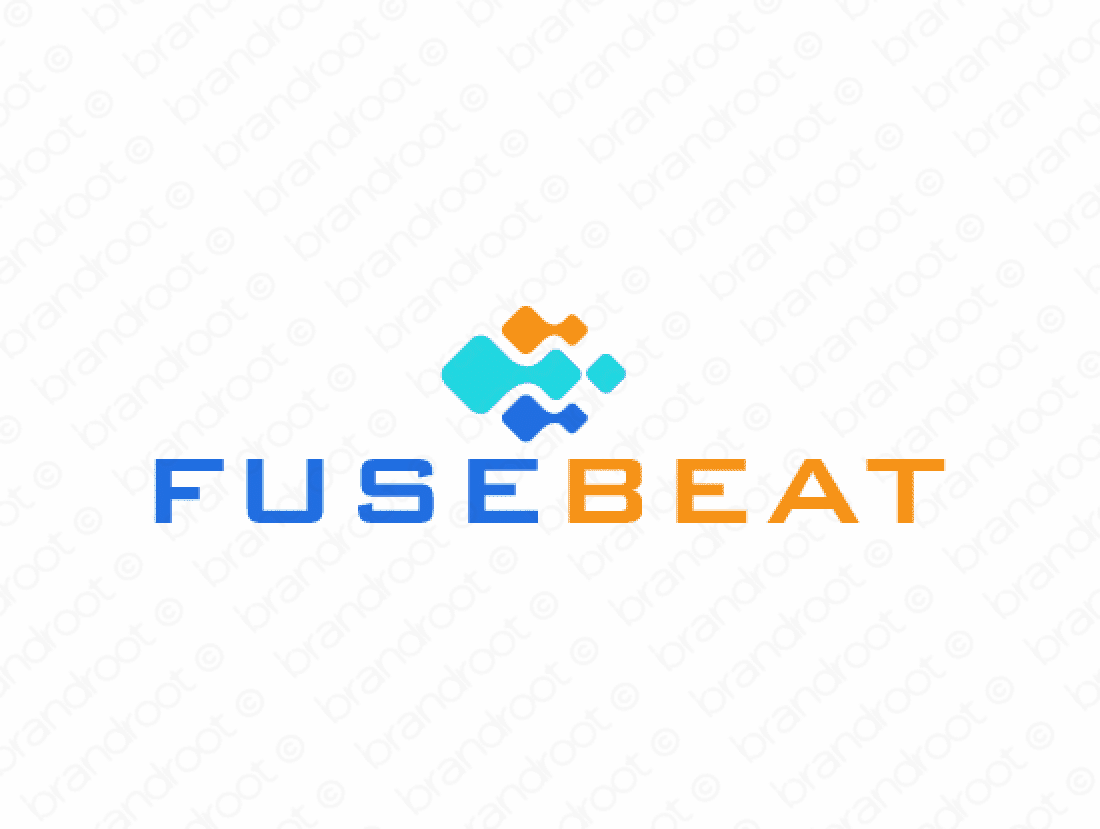 Fusebeat logo design included with business name and domain name, Fusebeat.com.