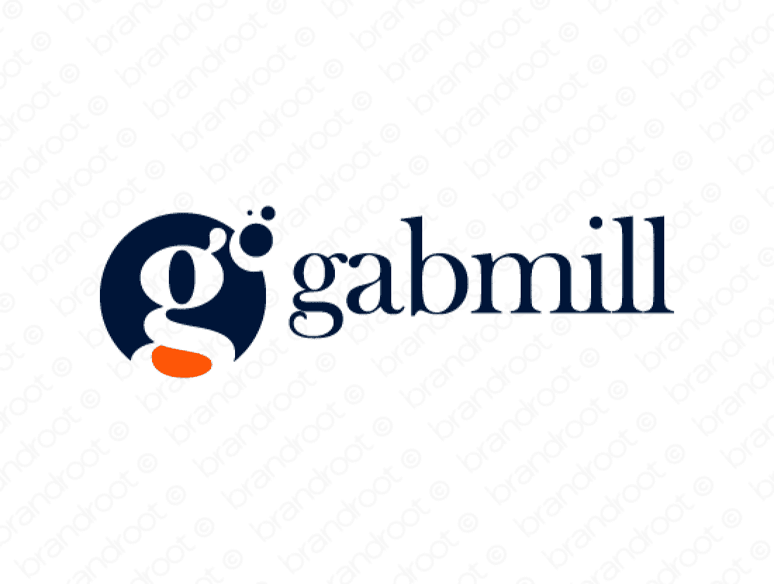 Gabmill logo design included with business name and domain name, Gabmill.com.