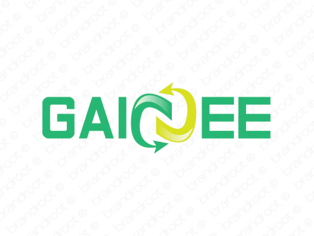 Gainee logo design included with business name and domain name, Gainee.com.