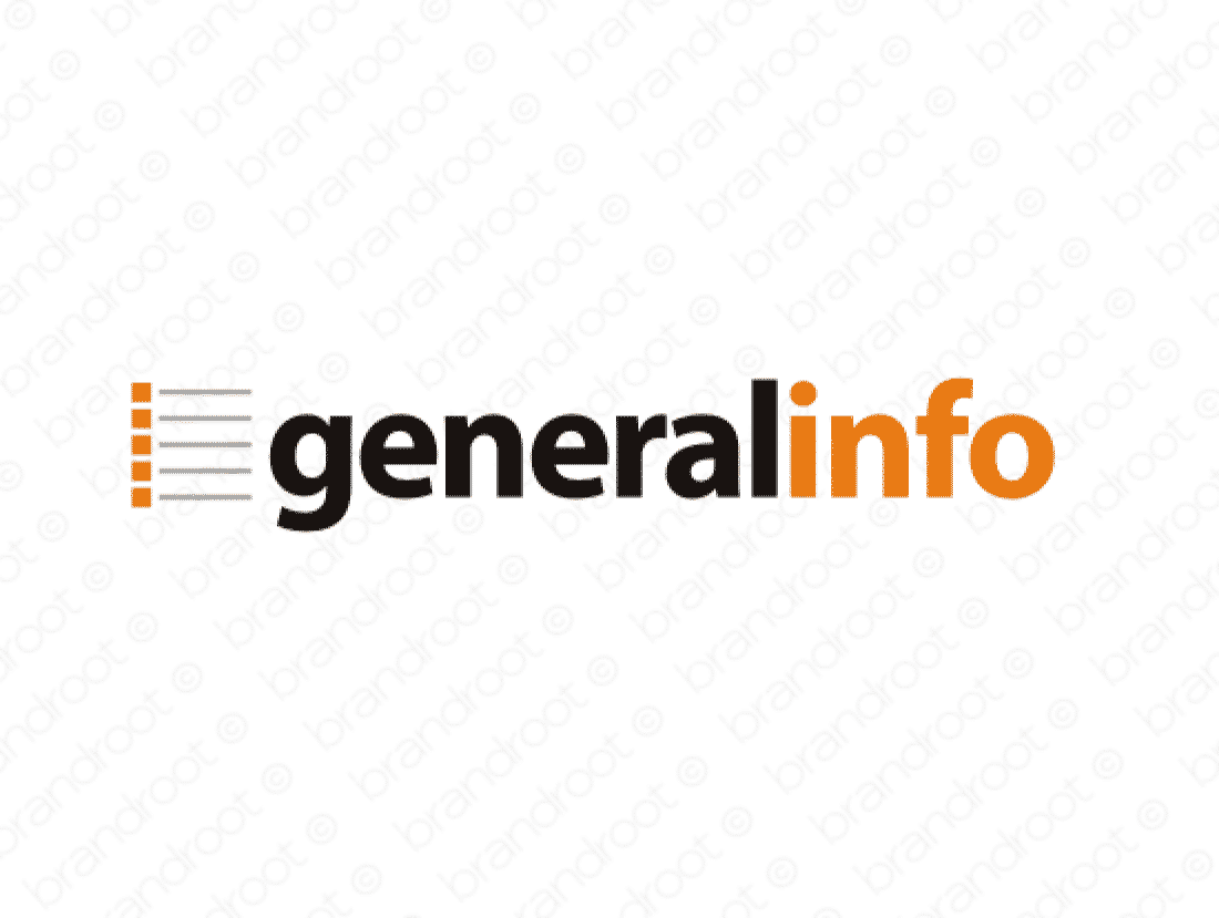 Generalinfo logo design included with business name and domain name, Generalinfo.com.