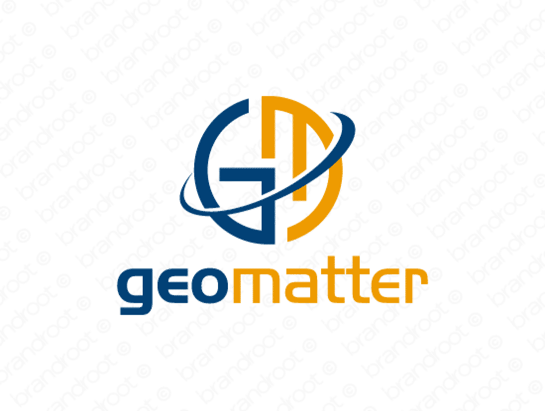 Geomatter logo design included with business name and domain name, Geomatter.com.
