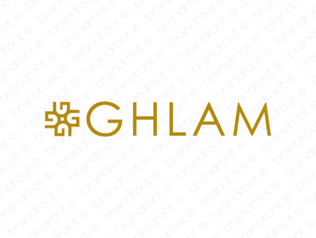 Ghlam logo design included with business name and domain name, Ghlam.com.