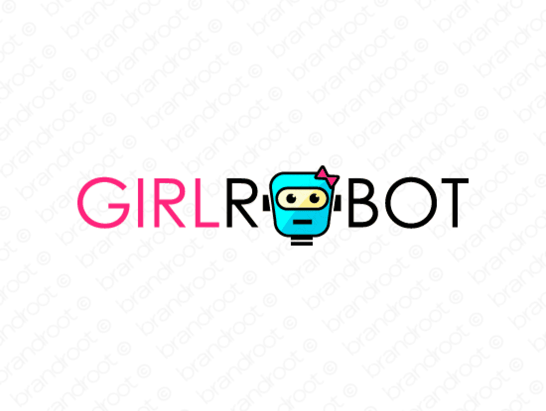 Girlrobot logo design included with business name and domain name, Girlrobot.com.