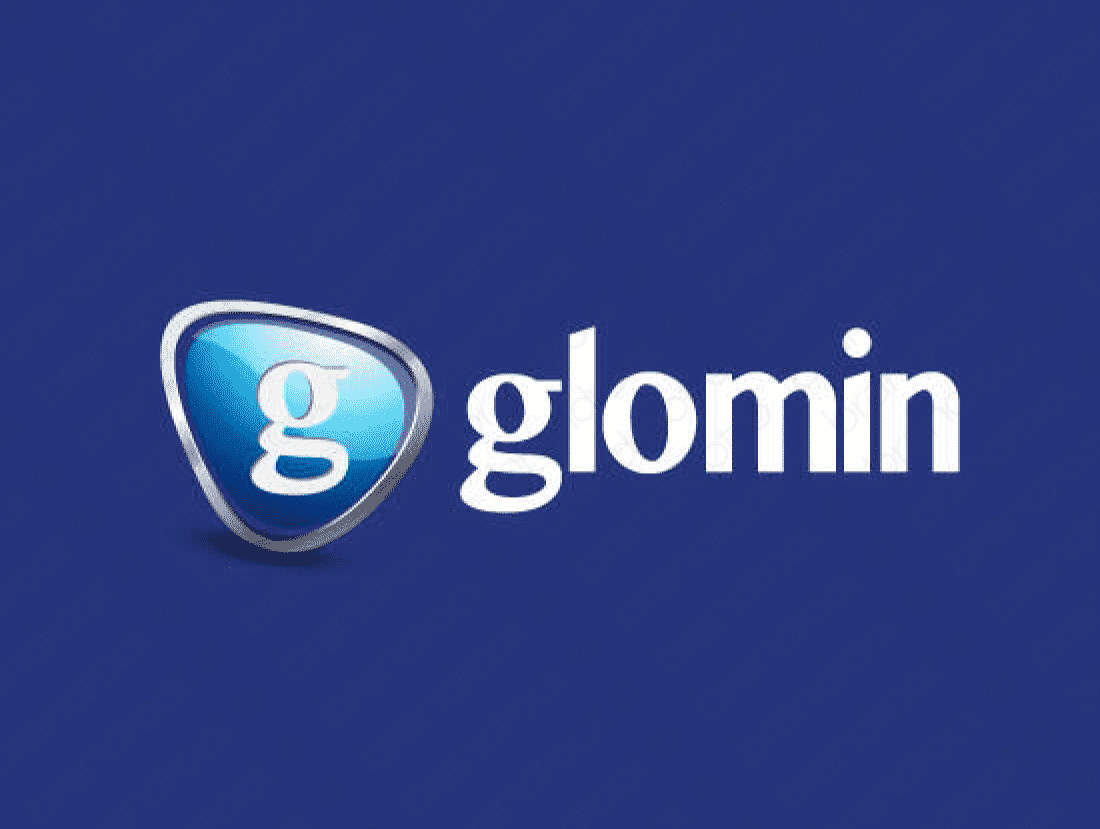 Glomin logo design included with business name and domain name, Glomin.com.