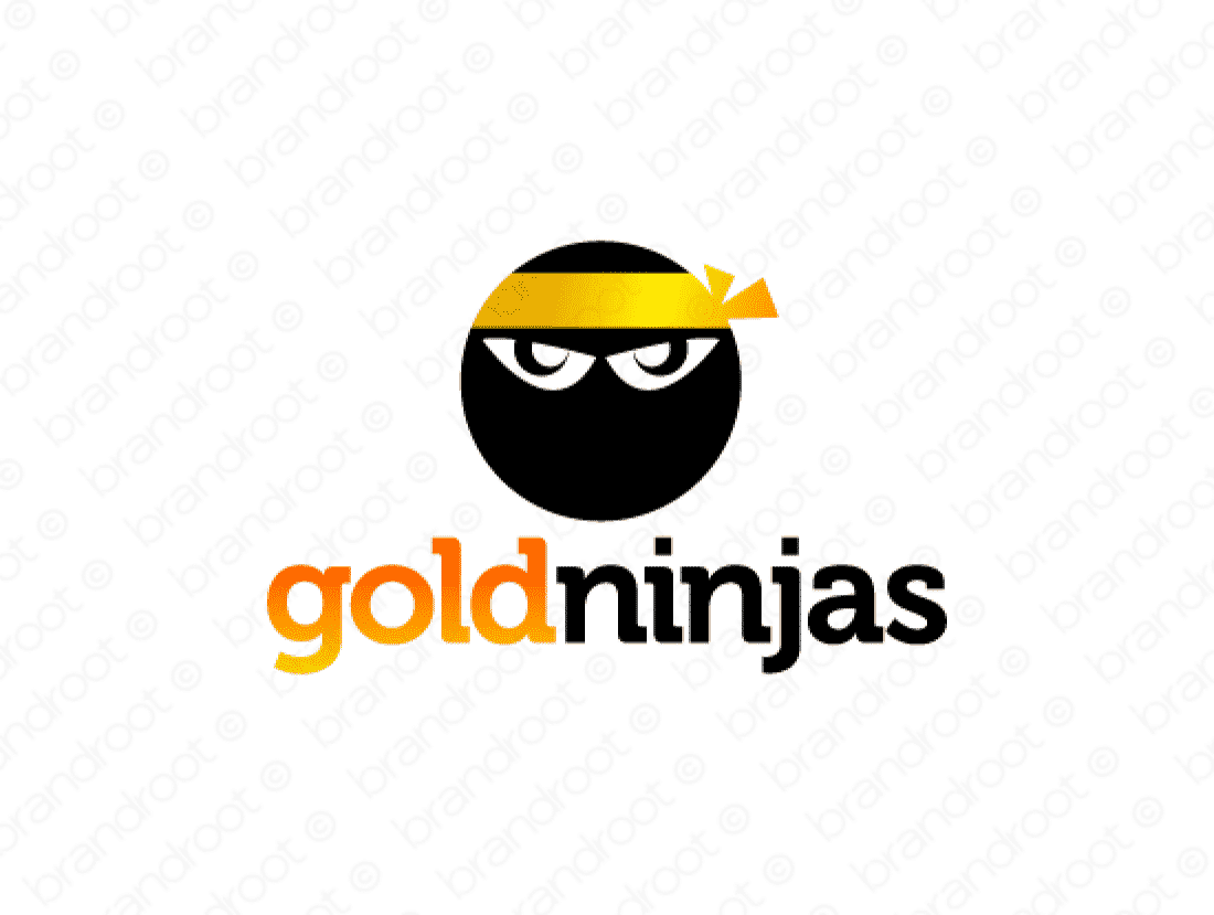Goldninjas logo design included with business name and domain name, Goldninjas.com.