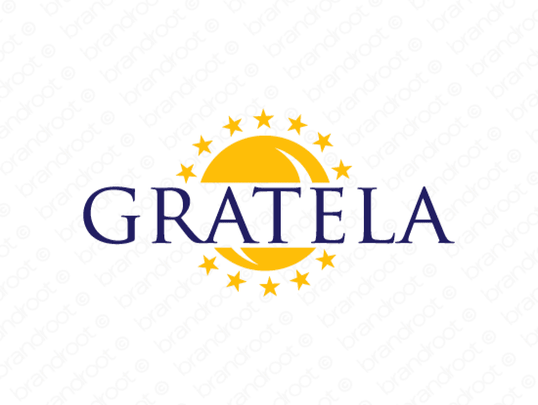 Gratela logo design included with business name and domain name, Gratela.com.