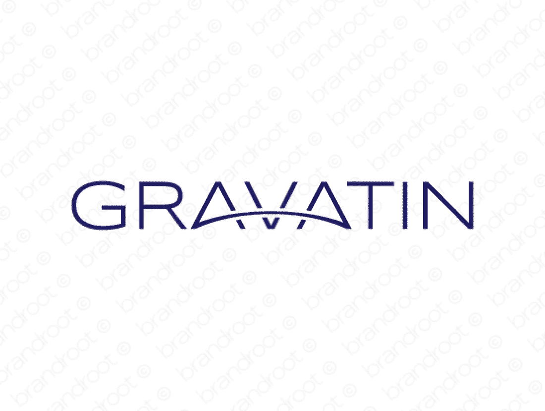 Gravatin logo design included with business name and domain name, Gravatin.com.
