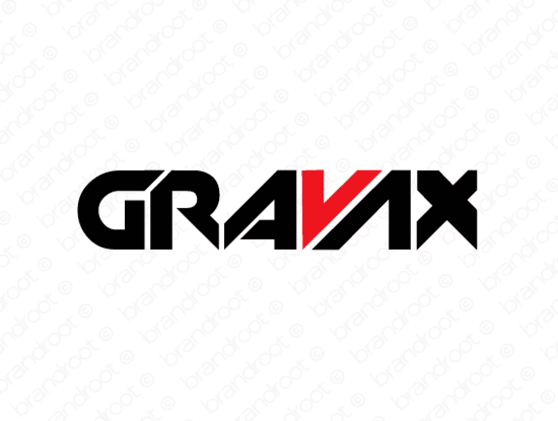 Gravax logo design included with business name and domain name, Gravax.com.