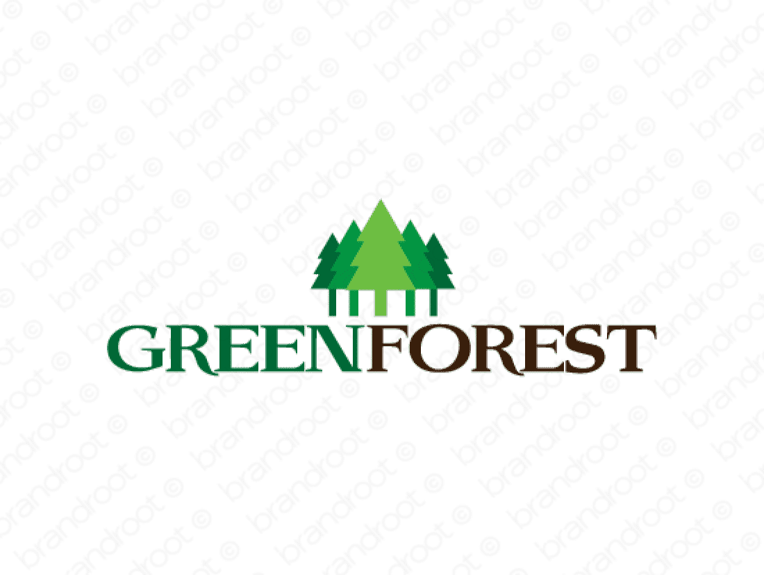 Greenforest logo design included with business name and domain name, Greenforest.com.