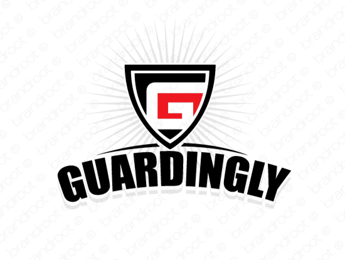 Guardingly logo design included with business name and domain name, Guardingly.com.
