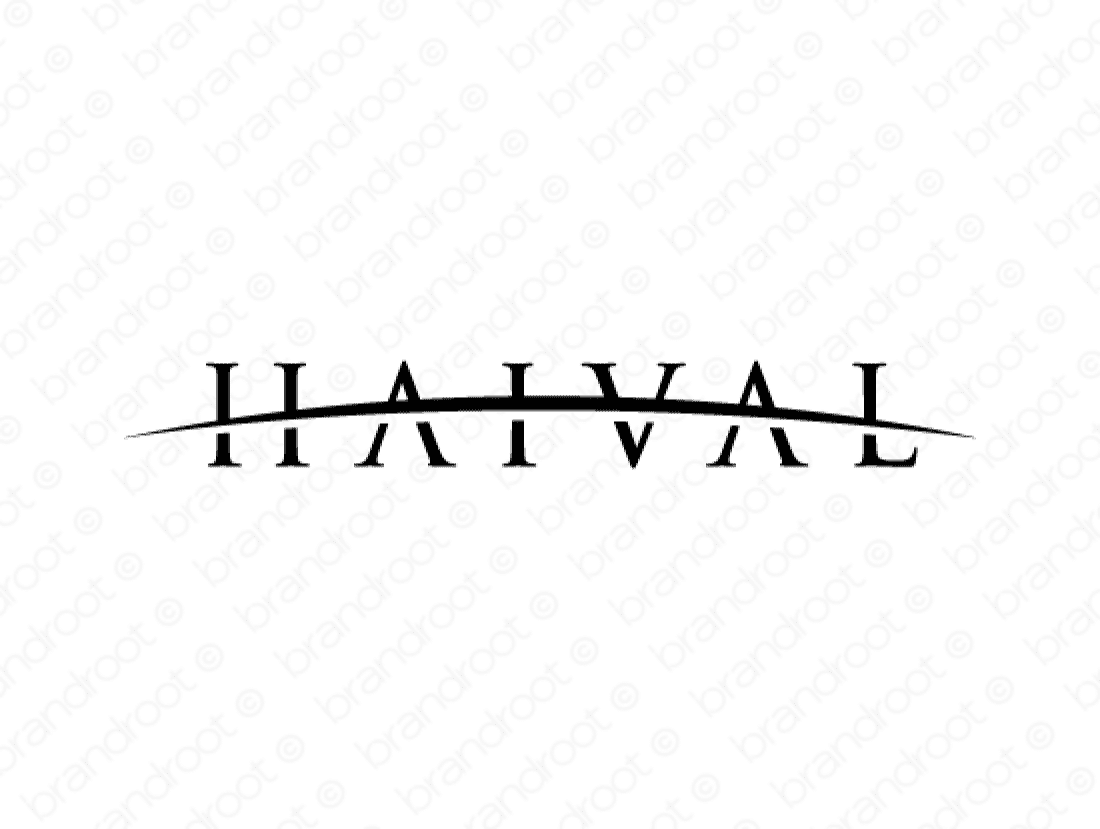 Haival logo design included with business name and domain name, Haival.com.