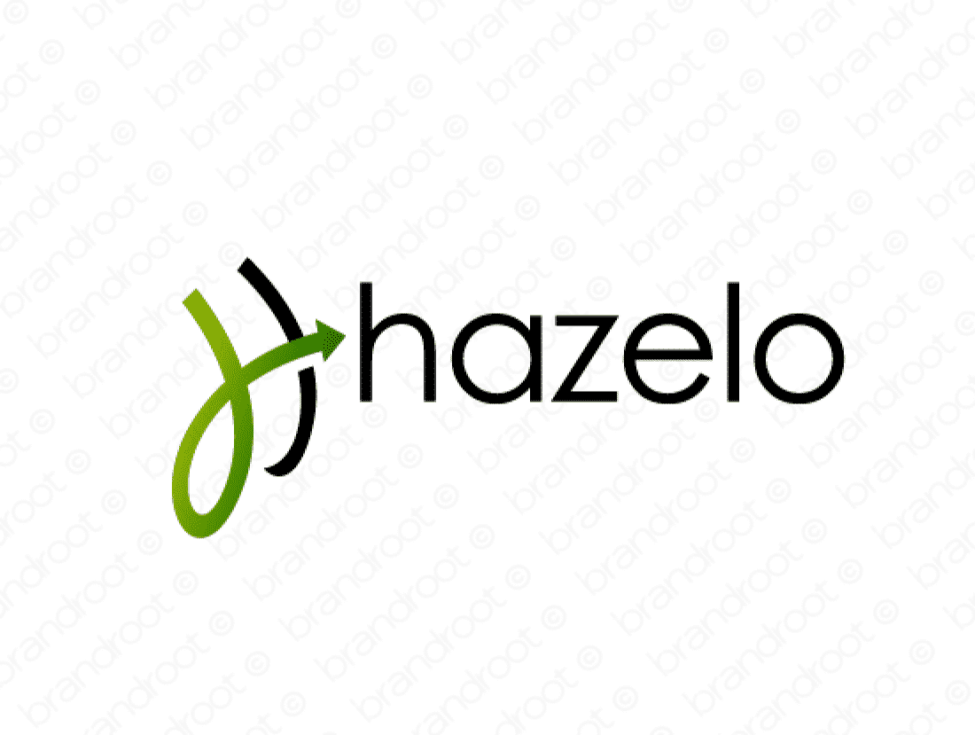 Hazelo logo design included with business name and domain name, Hazelo.com.