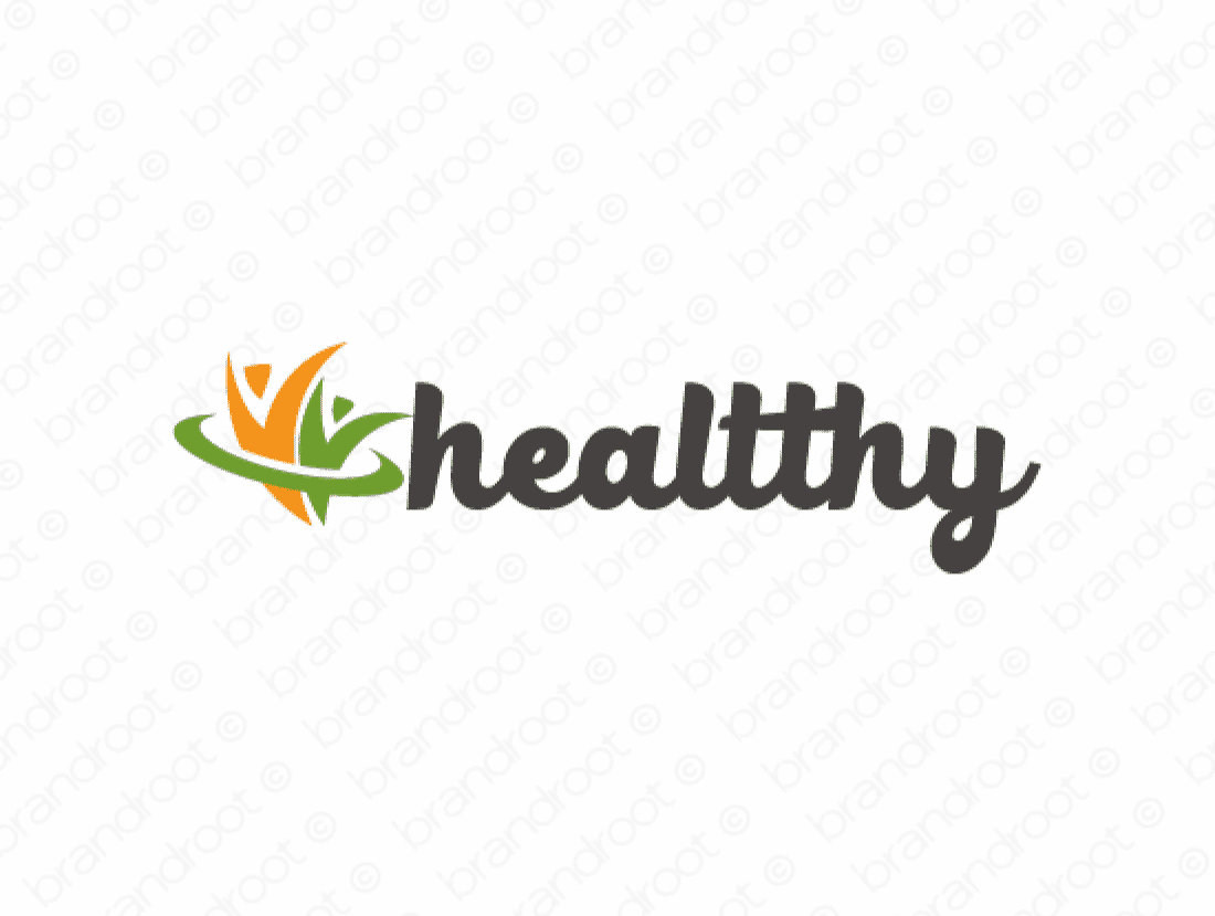 Healtthy logo design included with business name and domain name, Healtthy.com.