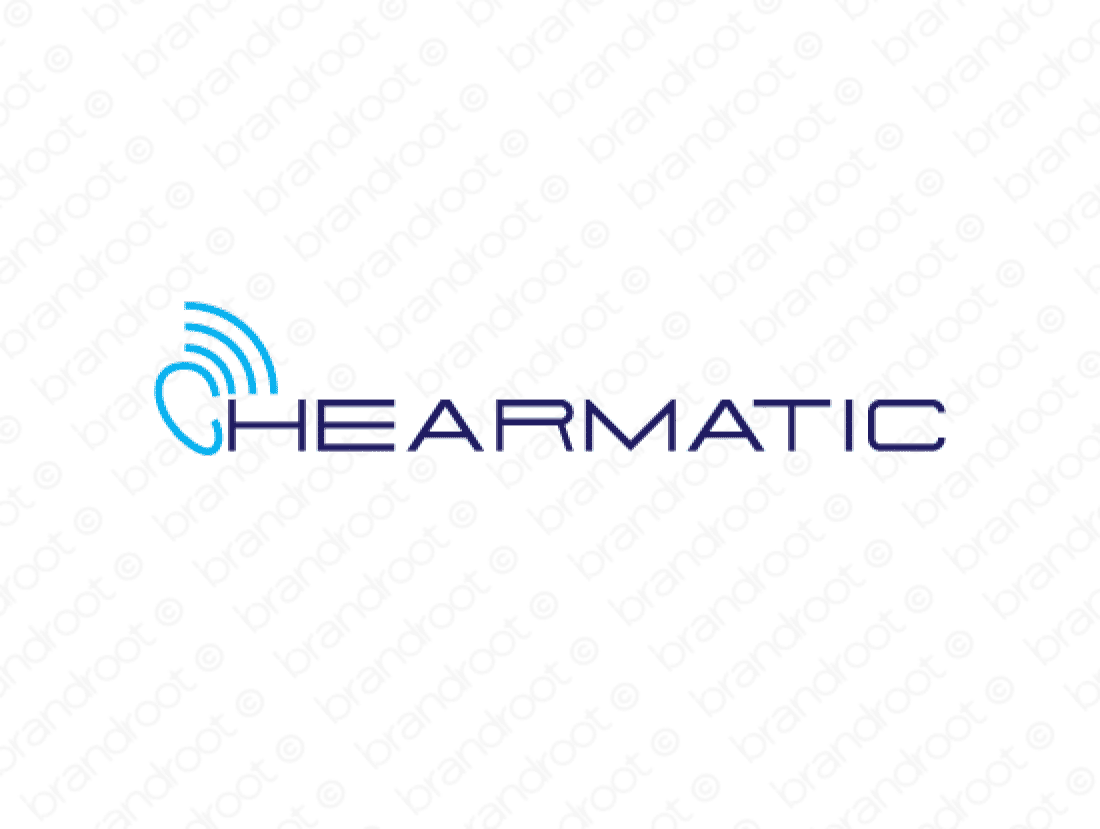 Hearmatic logo design included with business name and domain name, Hearmatic.com.