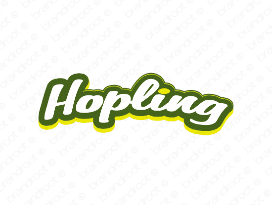 Hopling logo design included with business name and domain name, Hopling.com.