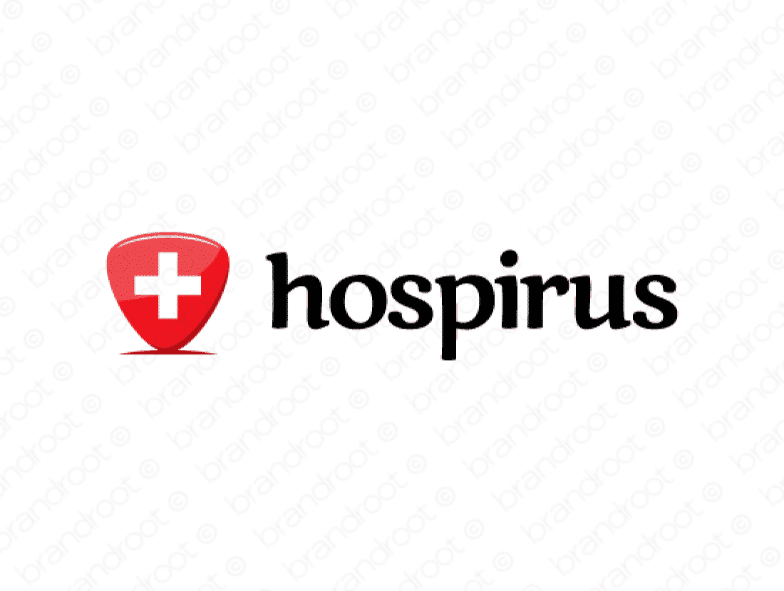 Hospirus logo design included with business name and domain name, Hospirus.com.