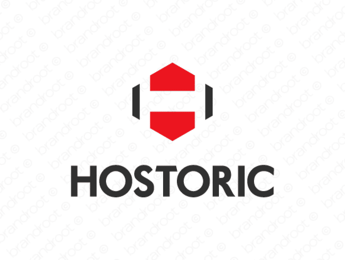 Hostoric logo design included with business name and domain name, Hostoric.com.