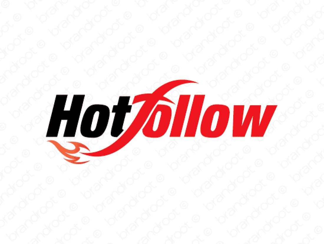 Hotfollow logo design included with business name and domain name, Hotfollow.com.