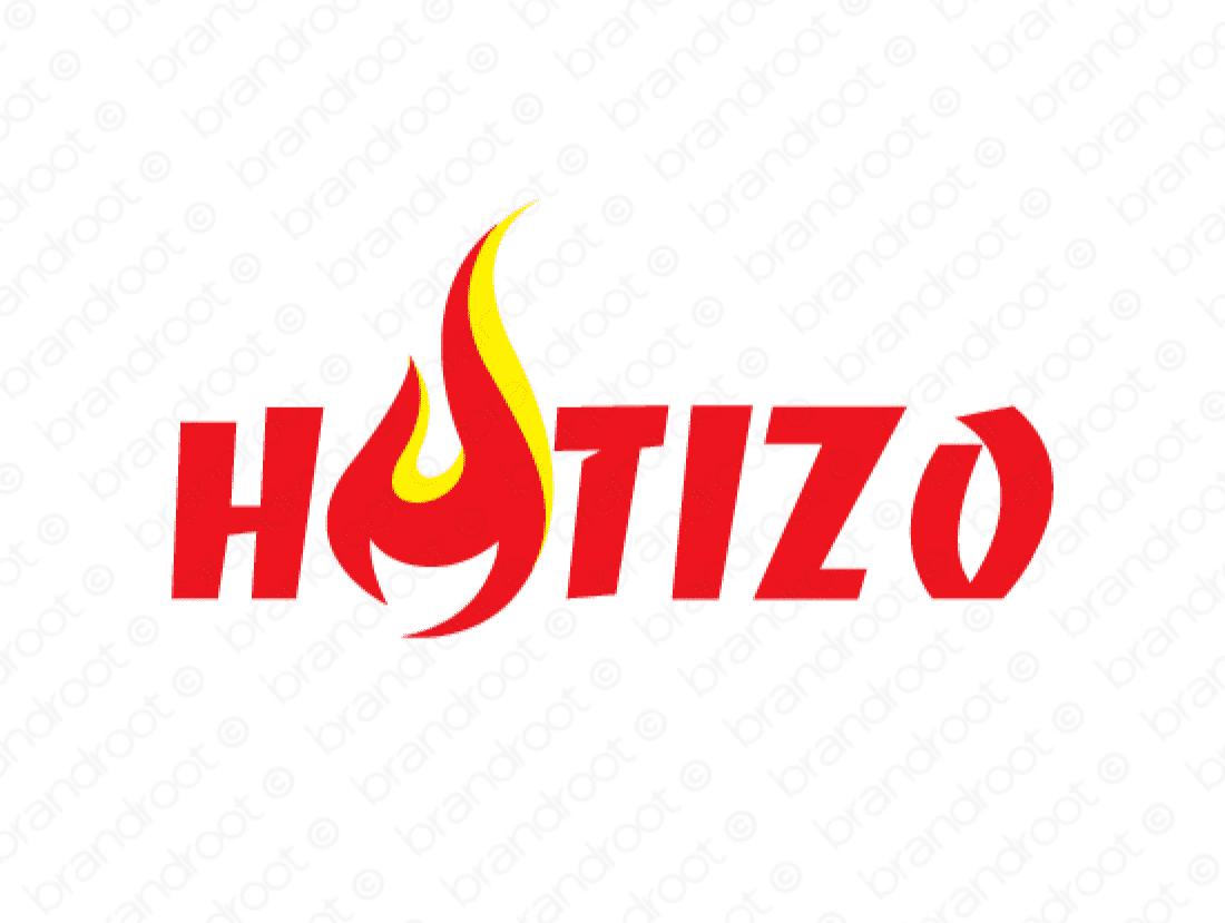 Hotizo logo design included with business name and domain name, Hotizo.com.