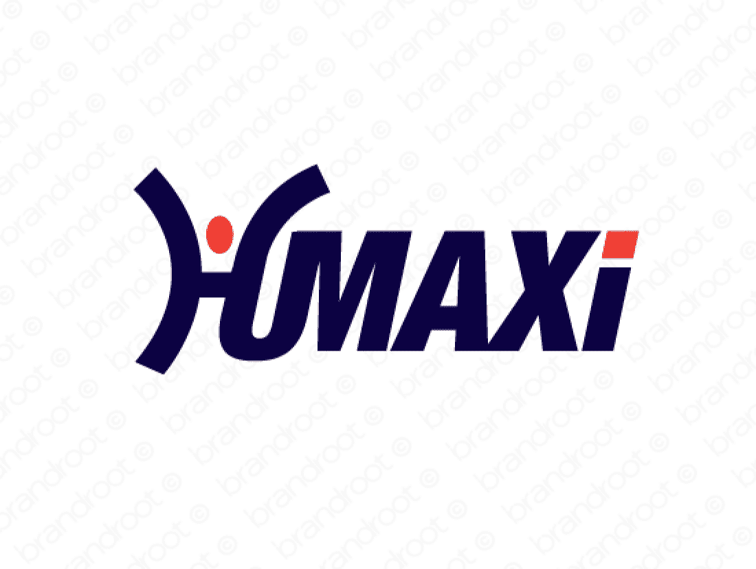 Humaxi logo design included with business name and domain name, Humaxi.com.