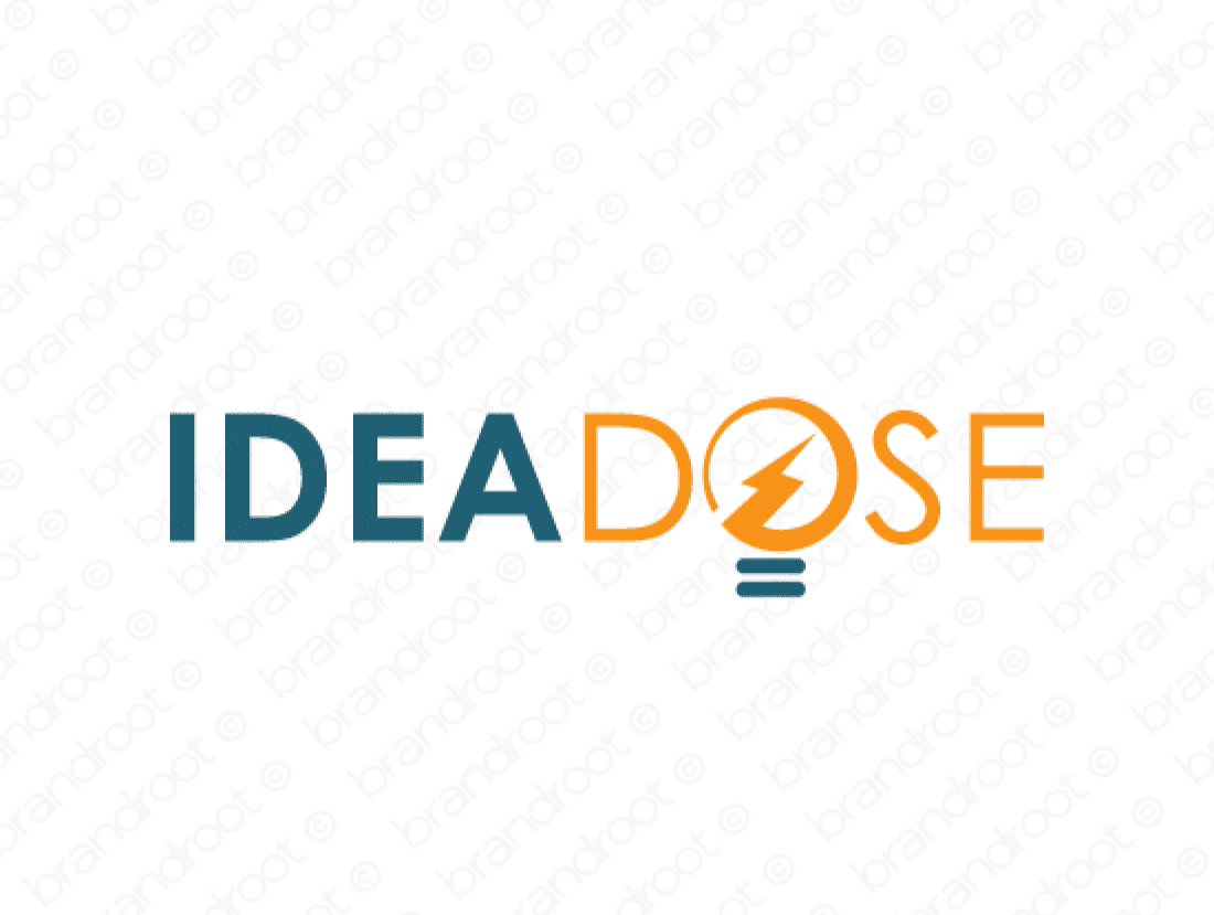 Ideadose logo design included with business name and domain name, Ideadose.com.