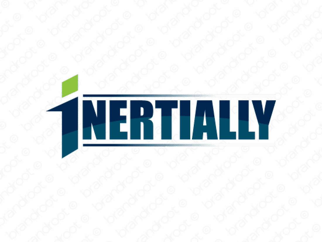 Inertially logo design included with business name and domain name, Inertially.com.