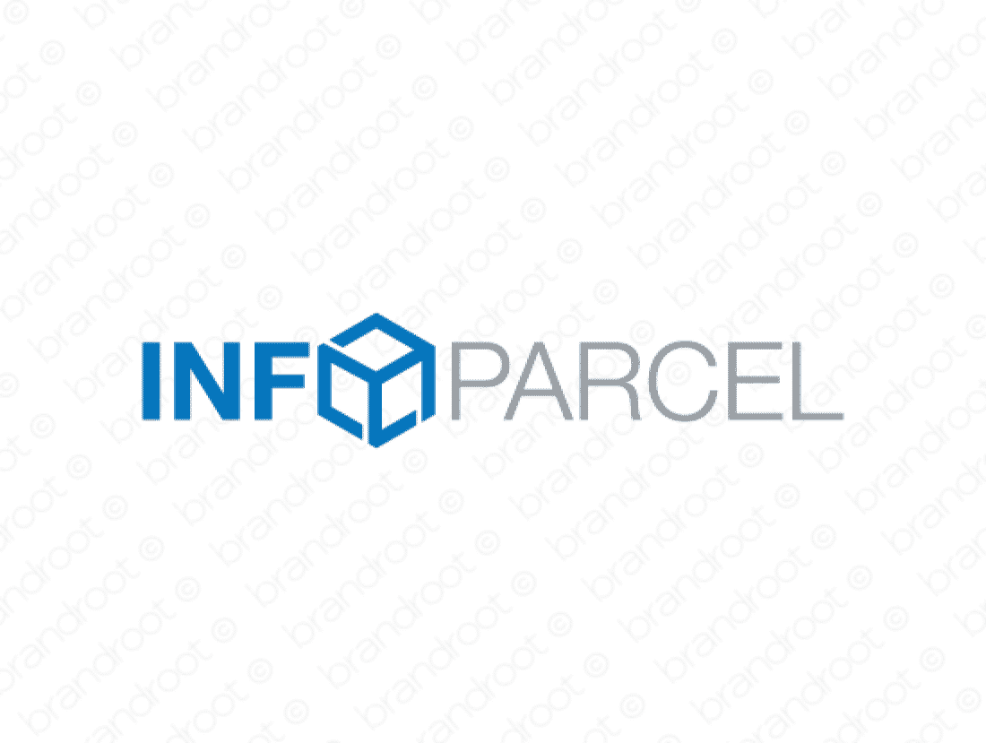 Infoparcel logo design included with business name and domain name, Infoparcel.com.