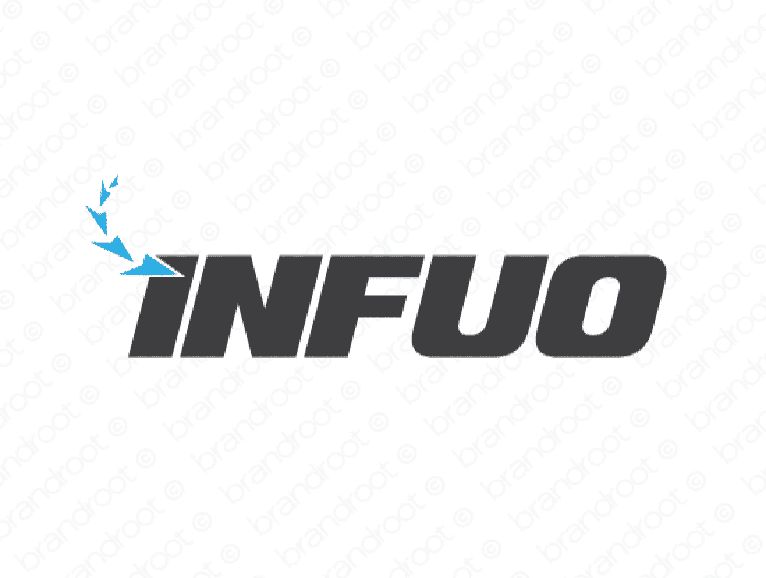 Infuo logo design included with business name and domain name, Infuo.com.